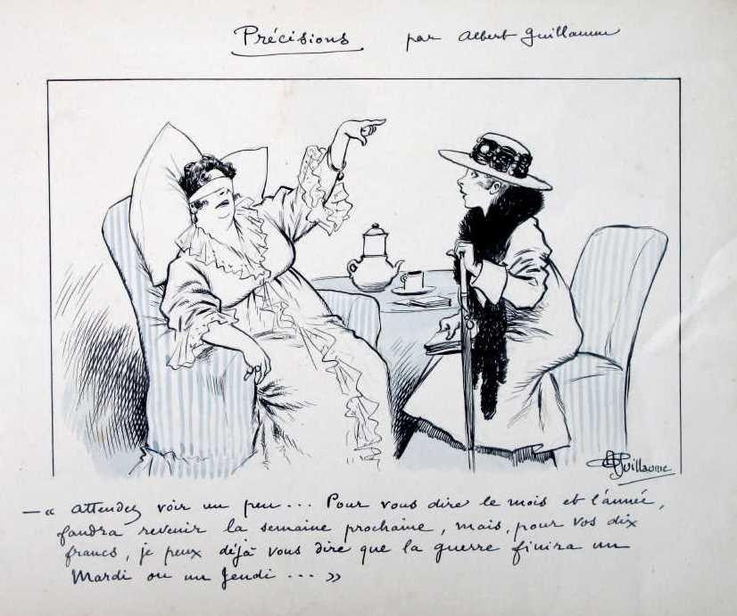 1916, Albert GUILLAUME, Prédiction du jour de retour de la Paix