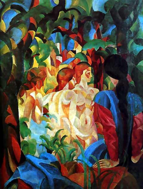 1913_Macke_August_baigneuses_et_ville